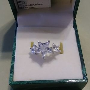3 Star Cubic Zirconium and Silver Ring